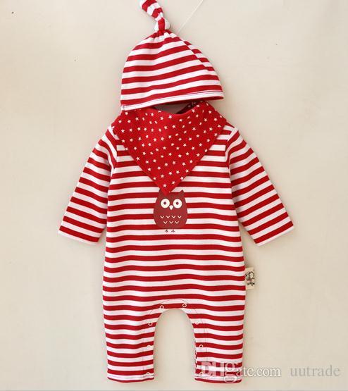 2016 Prinzessin Newborn Baby Jungen Mädchen Kleidung Streifenkappen Babylätzchen Strampler Sets Baby-Kleidung Sets Säuglingsoverall Sommer Herbst Bodys