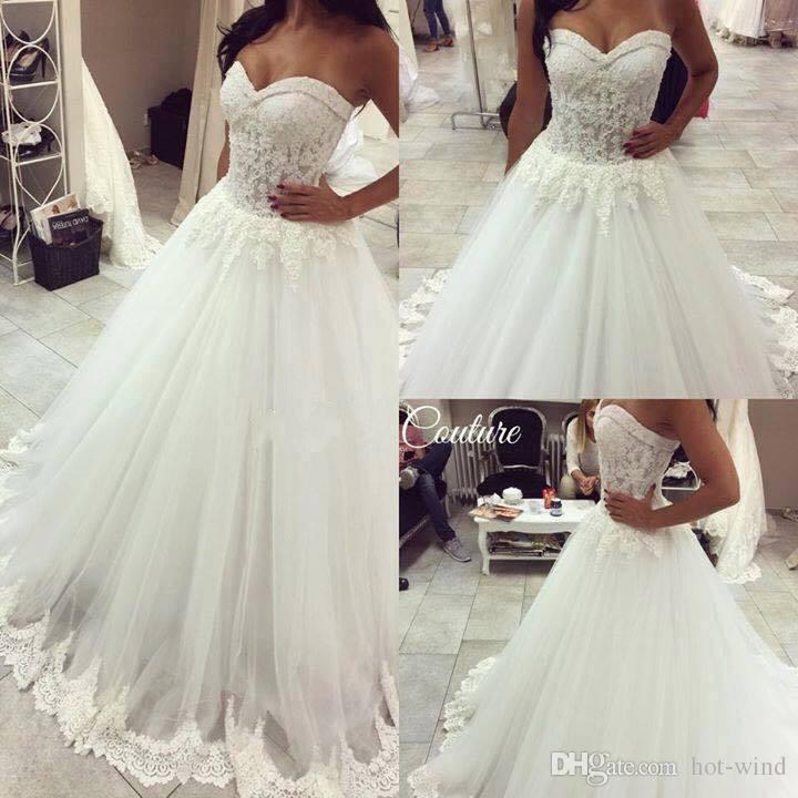 2016 Ball Gown Lace Wedding Dresses Lace Appliqued Sweetheart ...