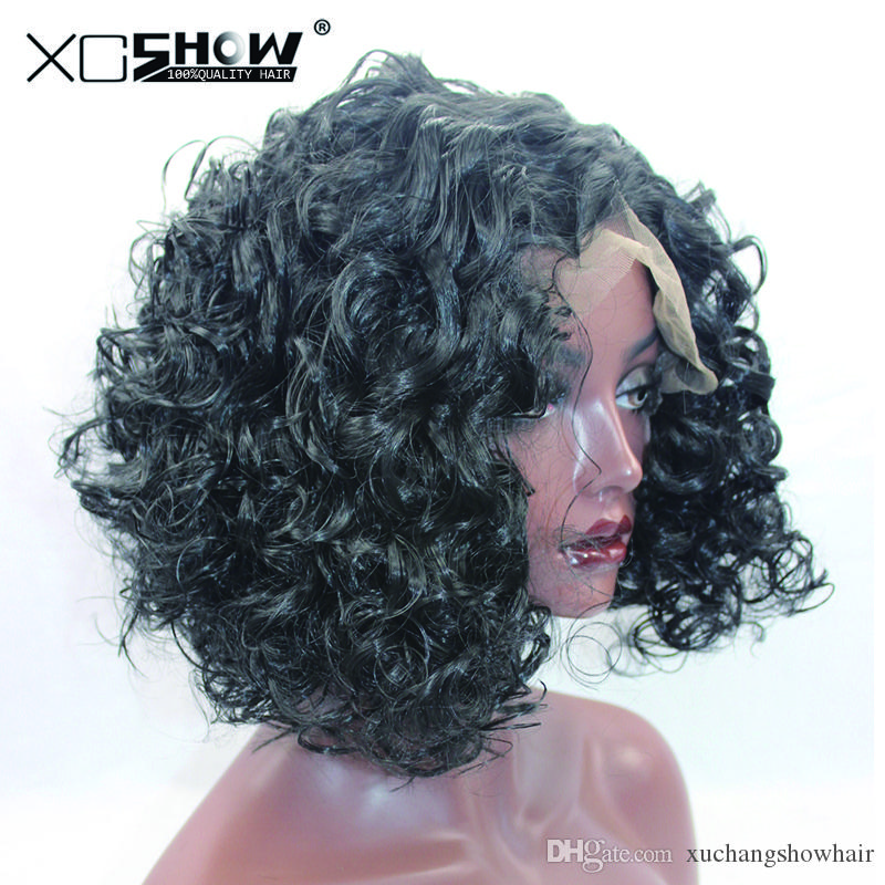 Promotion!! High Quality Loose Curly 1b Color Black Natural Short Synthetic Lace Front Wigs For African American Women More Styles In Stock!