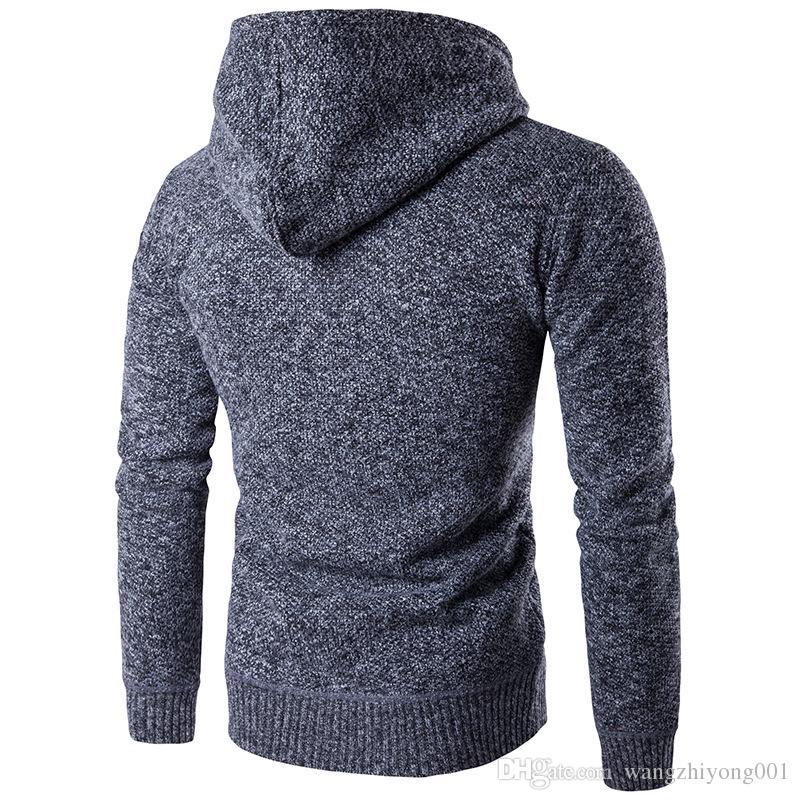Sonbahar / kış erkek sıcak örgü kazak genç erkek hoodie ve hoodie triko spor ceket spor çalıştırmak için