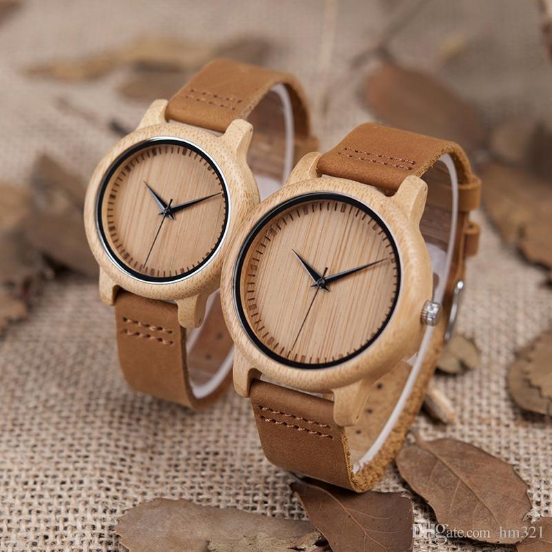 285cc3bb02d Compre BOO PÁSSAROS Amantes Minimalista Relógios Homens Japoneses Miyota  Movimento De Quartzo Das Mulheres Relógio De Bambu Das Senhoras Artesanais  Relógios ...