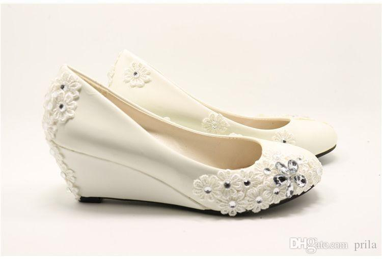 Kitten Middle Wedges Heel 5cm Heeled Womens Wedding Shoes Ivory
