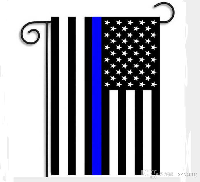 Stripes Flag USA Police Garden Flags Blue Line Thin Black White And Blue American US Home Party Decoration Festive Supplies Banner