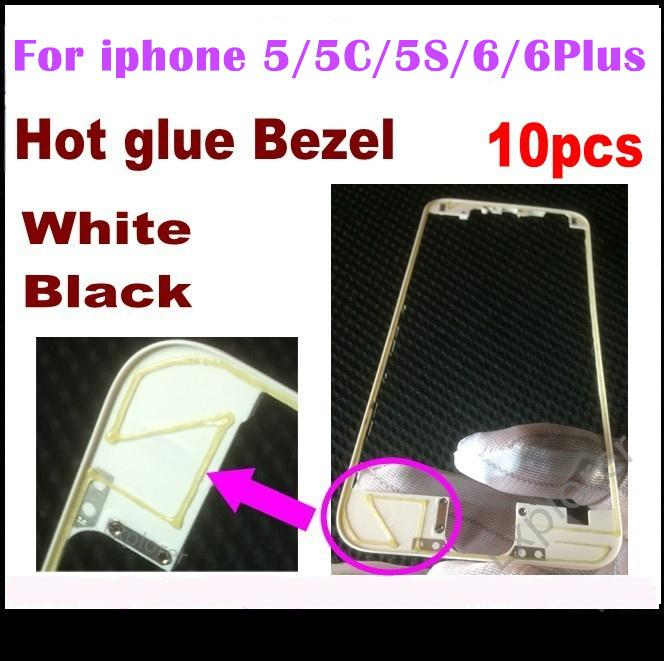 Front Bezel with hot glue Middle Frame for iPhone 5s 5c 5G 6 4.7 6 Plus 5.5 inch Black white