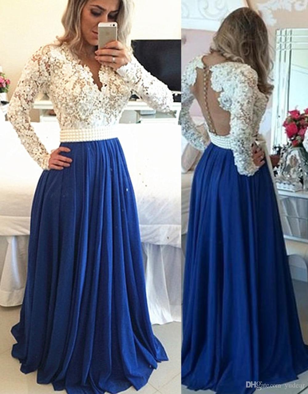 Sexy V-neck 2019 Women Evening Dresses Appliques Pearl Long Sleeves Prom Dresses A-line Sweep Train See Through Back Covered Button for Prom
