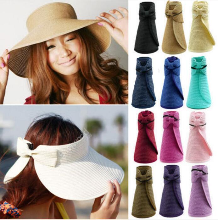 Fashion Sun Summer Hats for Women Lady Foldable Roll Up Sun Beach Wide Brim Straw Visor Hat Cap With Multi-Color
