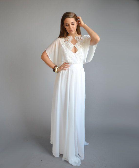 Discount 2016 Simple Scoop Kimono Sleeves Wedding Dress