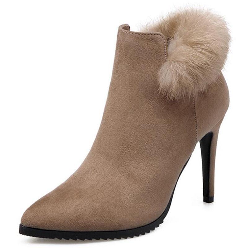 b6e1240ae1d5a0 Großhandel Sexy Damen Stiefel Winter High Heels Stiefeletten Schuhe Damen  Herbst Damen Kurze Stiefel Schnee Pelz Zip Schwarz Schuhe Absatz 9 Cm Von  Tework