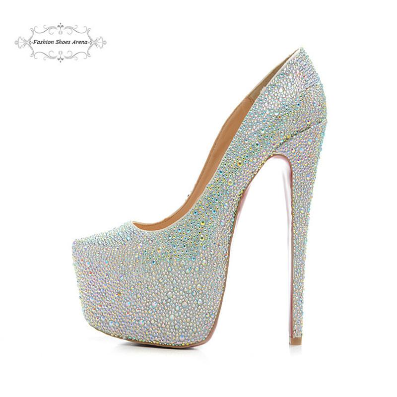 Size 35 41 Women S 16cm High Heels Silver Canvas With White Rhinestone Red  Bottom Pumps 9d27b8bc1be7