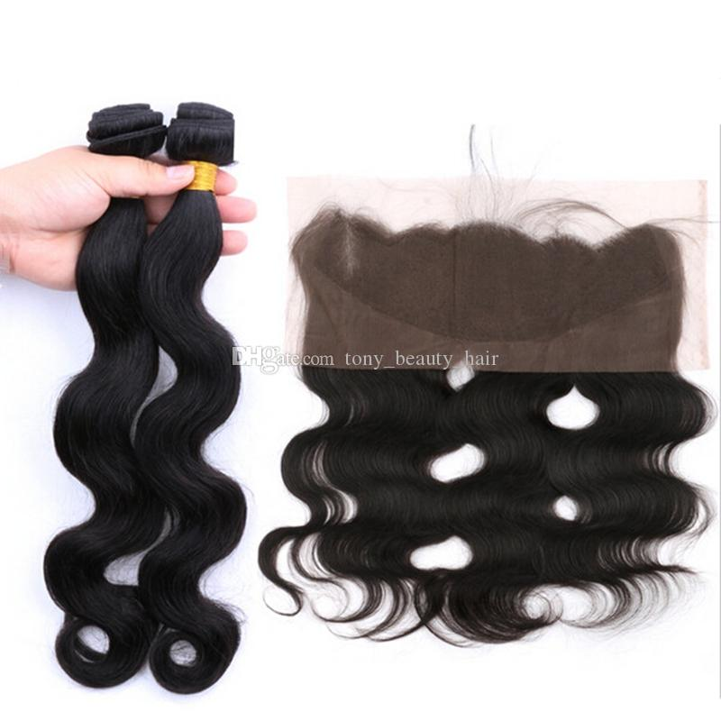Cheap Full Lace Frontal Closure With Bundles 8A Grade Brazilian Human Hair Weaves Body Wave 100% Unprocessed Natural Color Dyable 8-30 inch