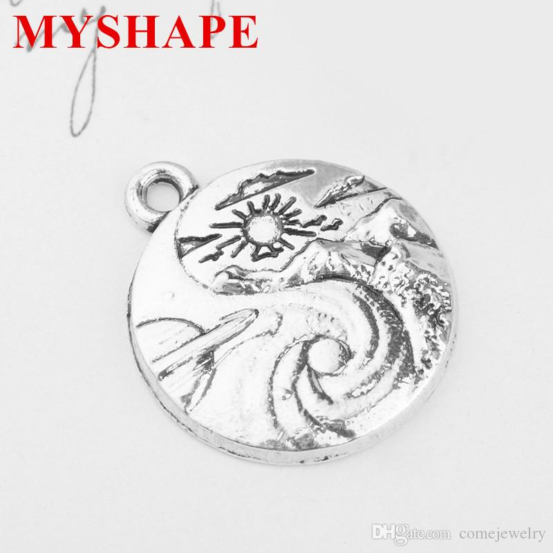 Zinc Alloy Antique Silver Plated Round Shape Scenery Sun Mt. Clouds and Swell Pendant Charms For Gift DIY Jewelry
