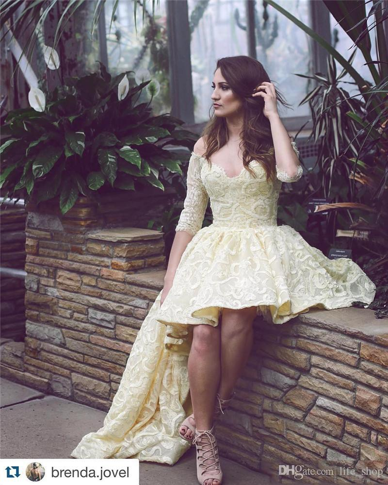 Light Yellow Hi Lo Prom Dresses Off Shoulder A Line Lace Short Front High Back Prom Gowns