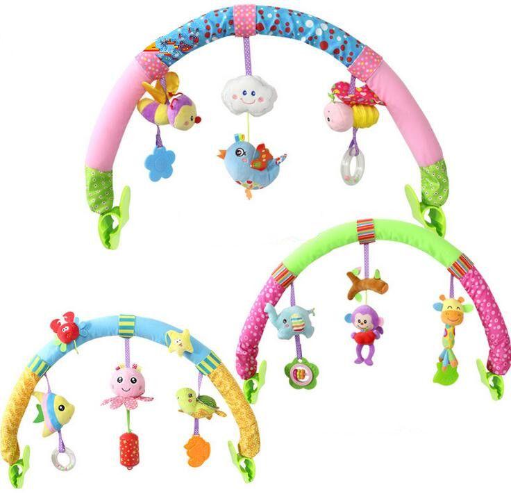 Newborn Baby Stroller Car Clip Hanging Seat & Stroller Toys Ocean Forest Sky Flying Animal mobile Rattle toy