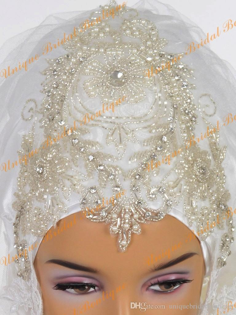 2016 Beautiful Muslim Bridal Veils with Many Beading and Pearls Real Photos Bling Bling Muslim Brides Hijab with Lace Appliqued Edge