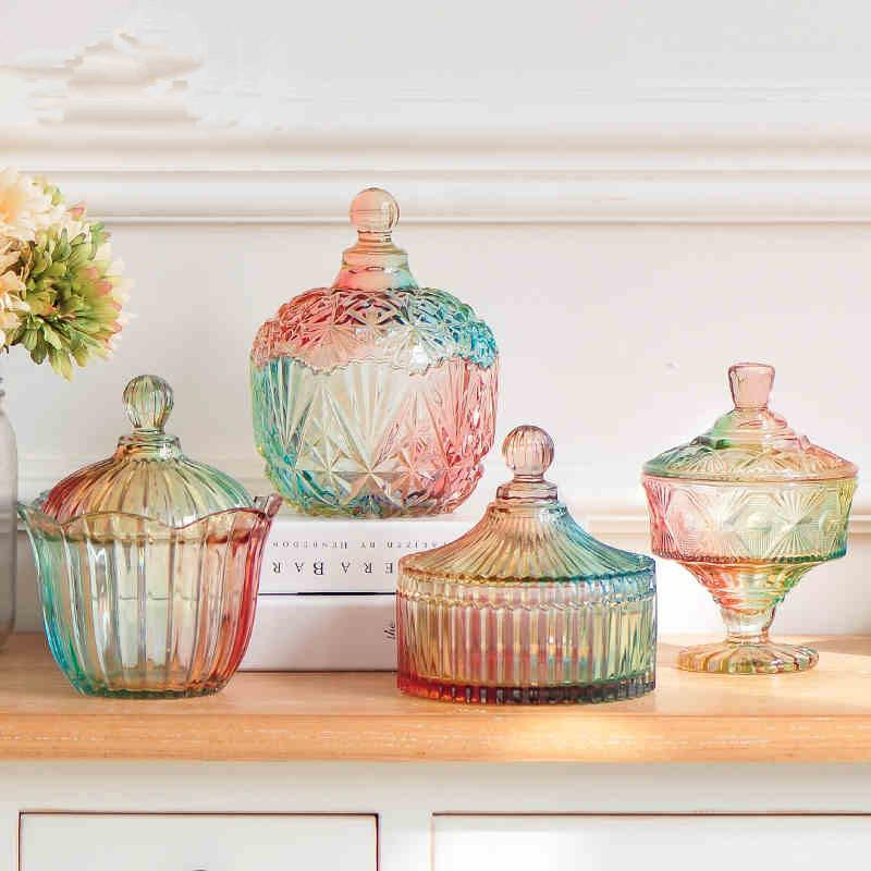 Wholesale 40 New Colours Glass Candy Jar With Glass Lids Creative Interesting Glass Decorative Jars With Lids