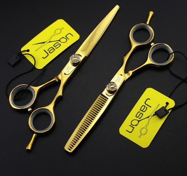 5,5 pouces 6 pouces cheveux ciseaux mis jason HC-02 or avec strass Ciseaux de coiffure plat cisaillement éclaircie coupe ciseaux avec sac peigne