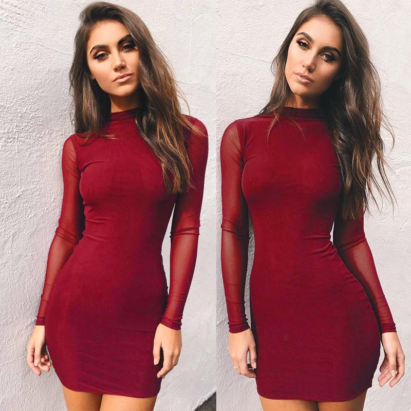 b8d1414892e Women Autumn Winter Long Sleeve Dresses Women Clothing Sold Skinny Sexy Hot  Sale Dress For Ladies Cute White Summer Dresses Clothing Dresses From ...