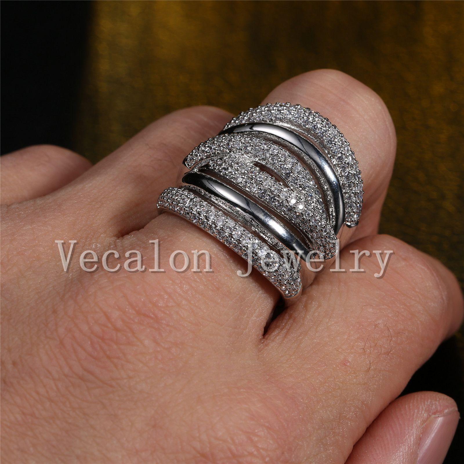 Vecalon 포장 세트 토파즈 시뮬레이션 된 다이아몬드 Cz 크로스 약혼 결혼 반지 여자 14KT 화이트 골드 채워진 여성 밴드 반지