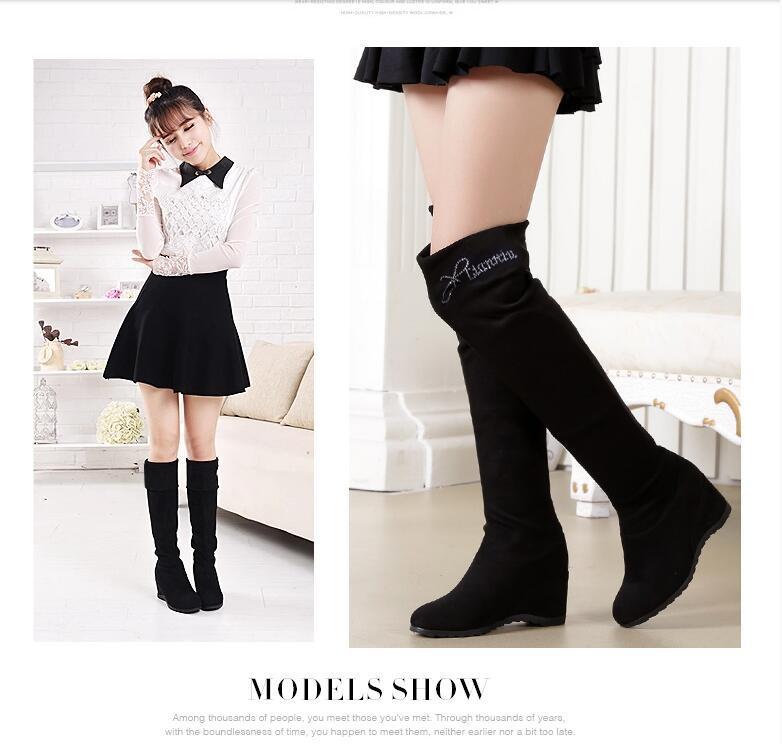 2017 Avrupa moda kadın bir uyluk çizmeler artan streç çizmeler yüksek tüp levhalar ve kaşmir çizmeler ücretsiz kargo
