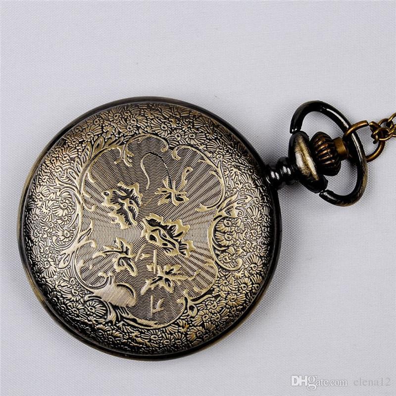 Antik Bronz Romen Rakamıyla Cep Saatleri Kolyeler Flip Locket Kuvars İzle Saatler kadınlar kadınlar Için takı Noel hediyesi 230217