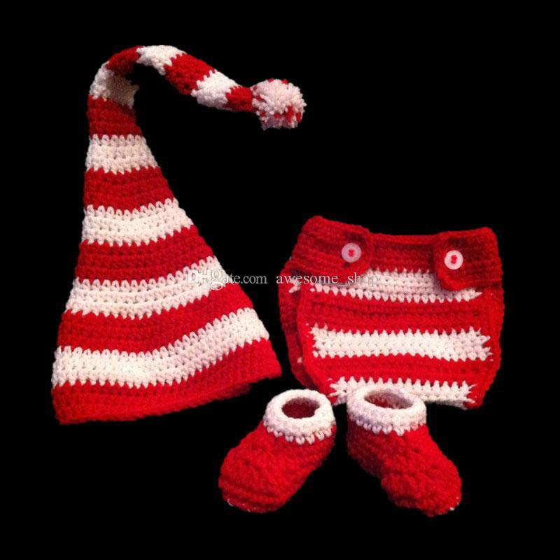 Crochet Baby Santa Elf Outfit,Handmade Knit Baby Boy Girl Pompom Christmas Hat Diaper Cover Booties Set,Infant Costume Newborn Photo Prop