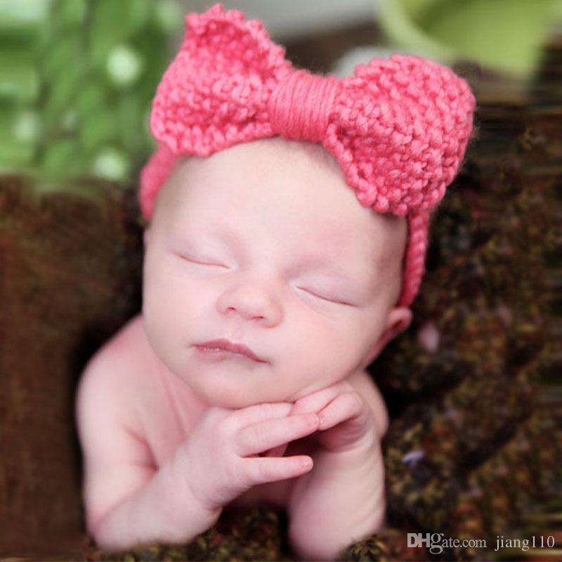 Xmas Newborn Headband Baby Knitted Headbands Fashion Protect Ear Bow
