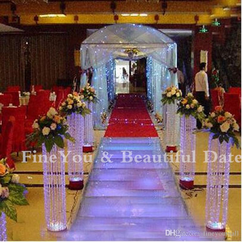 Nueva llegada 70 cm de altura 20 cm de diámetro pilares de cristal de acrílico de la boda camino de la boda soporte de la boda centro de mesa para la decoración de Fiesta de Navidad