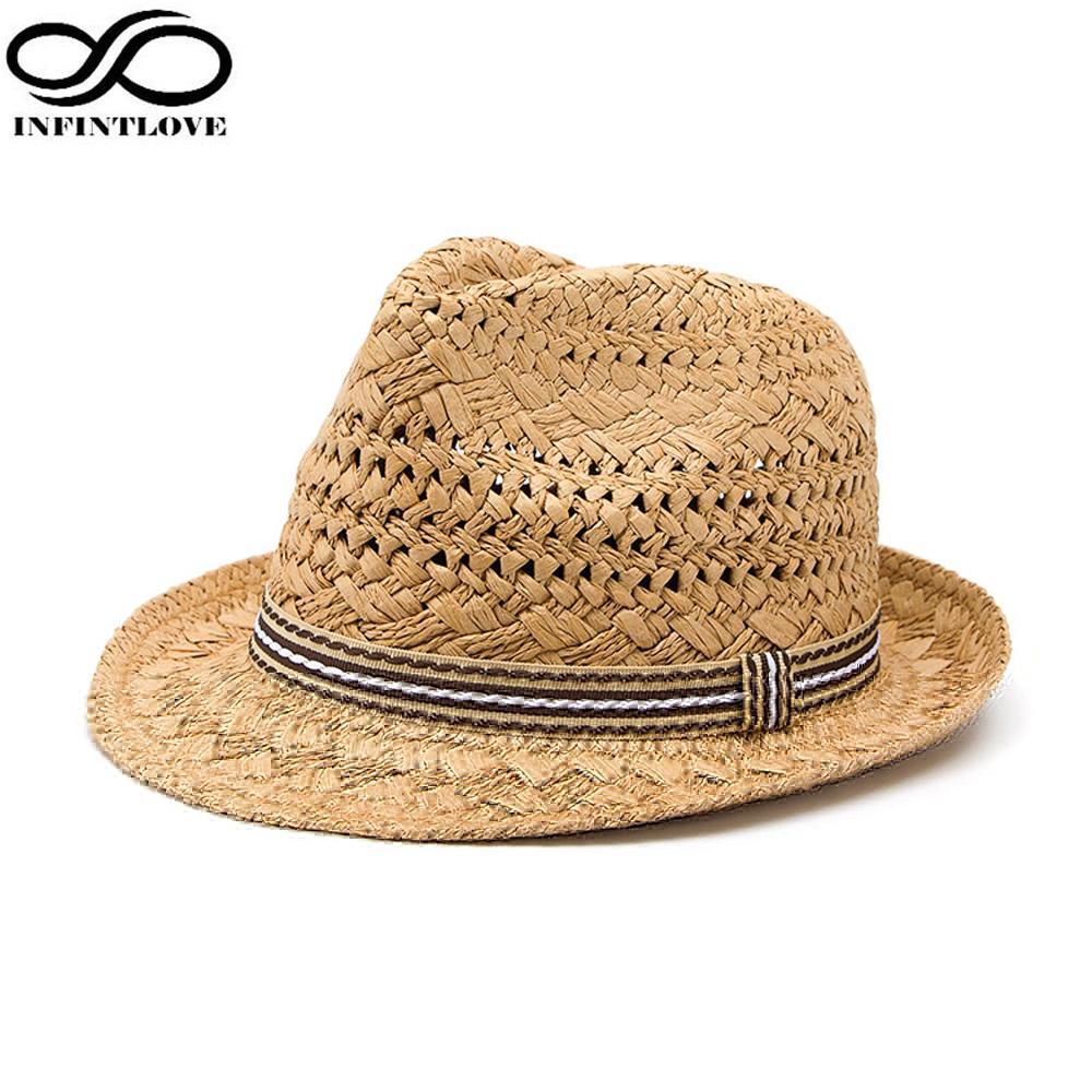 Acquista All ingrosso INFINITLOVE Summer Fashion Handmade Beach Beach Boho  Fedora Cappello Di Paglia Cappello Da Sole Cappellino Da Sole Uomo Jazz  Cappello ... b5b2667f4013