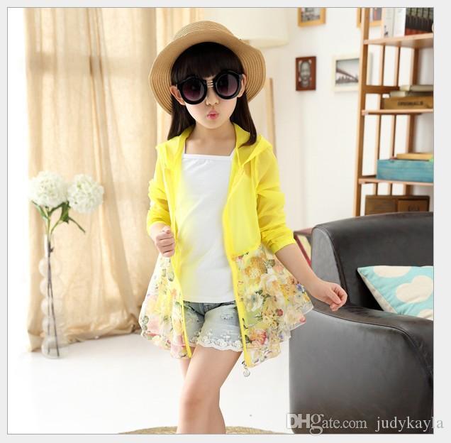 2018 stora tjejer cardigan solskyddsmedel kläder barn långärmad dragkedja blommigrock mode flicka sommar spets hooded tunna jacka 120-160cm