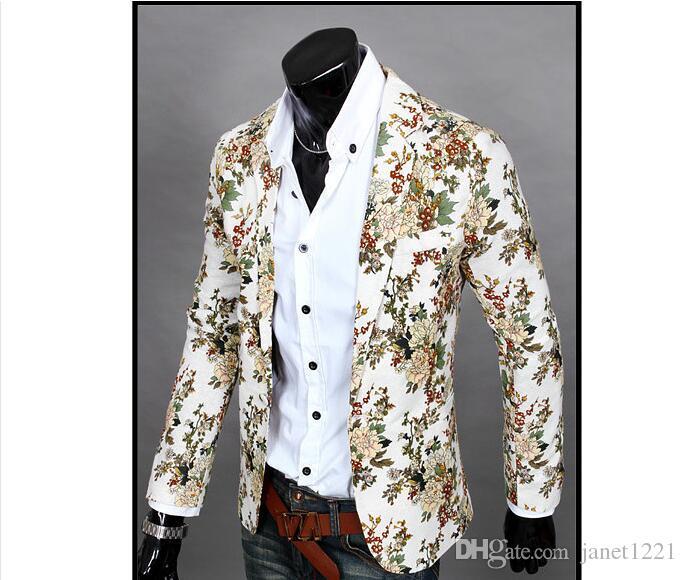 Bunte Blumen-Art-Mann-beiläufige Blazer-Klage-Langarm-Thin-Party-Mann-Klage Blazer Schlank Einreiher Blazer für Männer J160406
