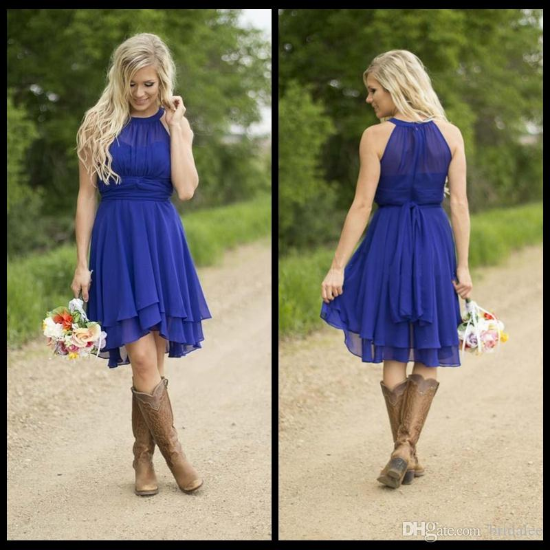 Modest Country Western Style Royal Blue Short Bridesmaid Dresses 2016 Beach Chiffon Simple Knee Length Wedding Party Formal Wear