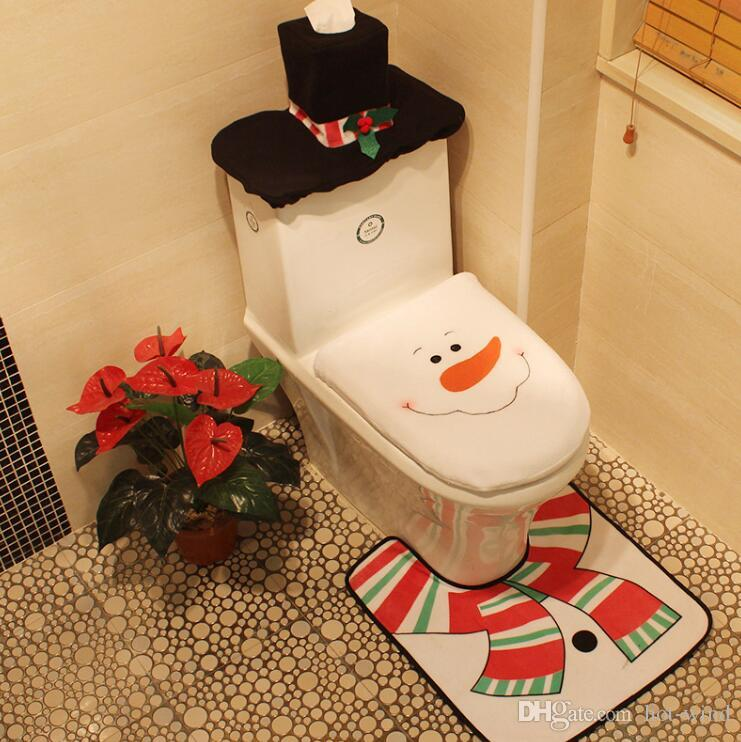 4 Styles Merry Christmas Decoration Santa Toilet Seat Cover Rug Bathroom Set Best Happy Decorations Gifts MC0323