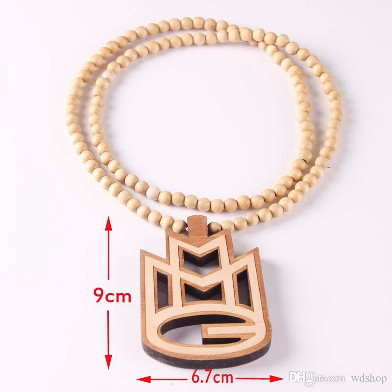 Fashion Luxury Good Wood Hip Hop MMG Men Pendant Necklace Long Chain Beads Necklaces Pendants Jewelry Wholesale ICED OUT Jewelry