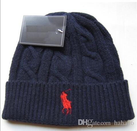 cc3fb0de 2017 Fashion Unisex Spring Winter Hats for Men women Knitted Beanie Wool  Hat Man Knit Bonnet Polo Beanie Gorros touca Thicken Warm Cap