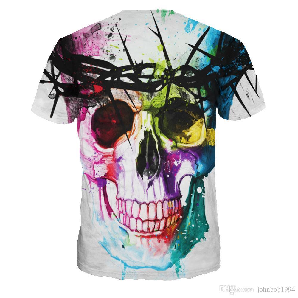 2016 Yeni Yaratıcı Boyalı erkek Kafatası Baskı T-Shirt Moda Yenilik Gömlek O Boyun tişörtleri Kısa Kollu T Shirt Marka Tasarımcısı