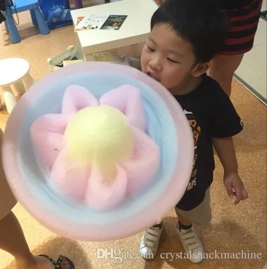 Satılık 220 v Ticari Pamuk Şeker Makinesi Makinesi Fantezi Çiçek Pamuk Şeker Makinesi Elektrikli Candy Floss Makinesi Makinesi