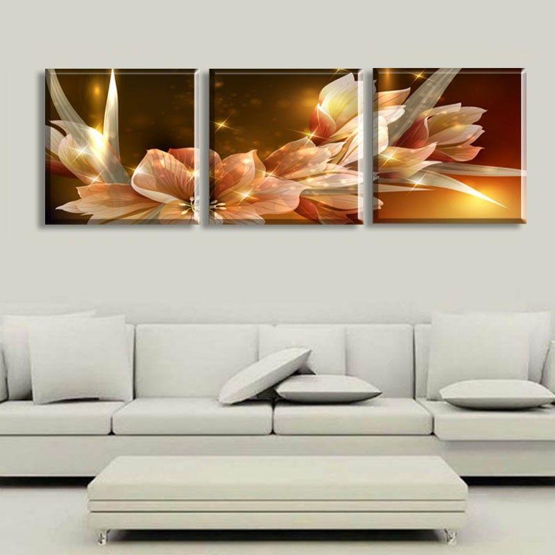 Trasporto libero della tela di canapa pittura ricchezza e lusso fiori d'oro 3 pezzo di arte a buon mercato immagine home decor su tela moderna stampe murali