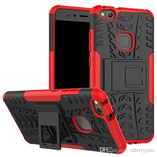 Shockproof Rubber Hard Armor Hybrid Rugged Case Protective Stand Cover for Huawei P10 Lite