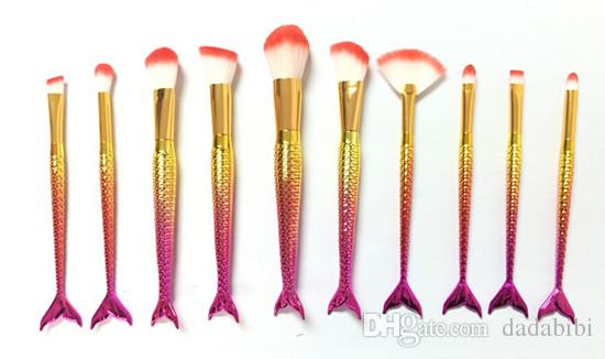 1lot= MERMAID BRUSH Makeup Brushes Sets 3D Colorful Professional Make Up Brushes Foundation Blush Cosmetic Brush Set Kit Tool