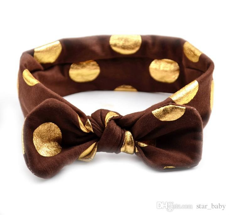 Baby Gilding Dot Headband Infant Boy Girl Solid Color Head Wear for Choose Hair Accessories with Bowknot K7066