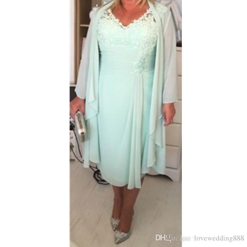 Plus Size Mãe 'Vestidos de Hortelã Verde Chiffon V Pescoço Applique Lace Mangas Compridas Jaqueta Comprimento Chá Formal Vestidos de Noite Vestido Ocasional 2019