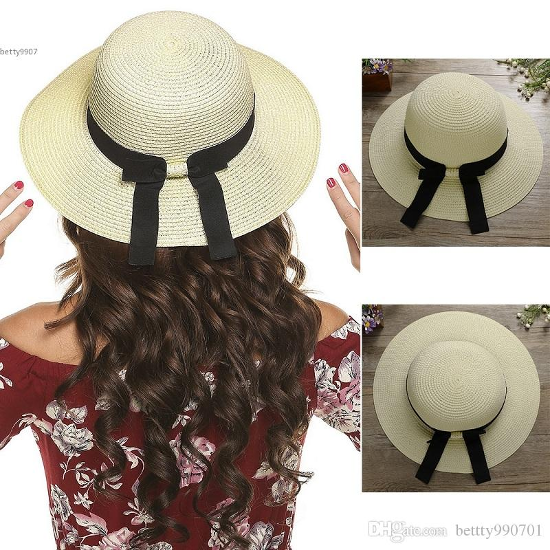 284ab86e292 2017 New Desinger Women Hat Vacation Bow Tie Straw Large Brimmed ...