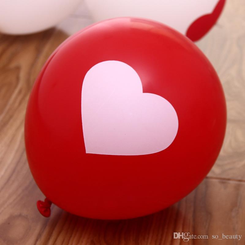 100 unids Globos de Corazón de Látex Rojo Globo Redondo Del Partido de la Boda Decoración del Aniversario de Feliz Cumpleaños de 12 pulgadas nueva