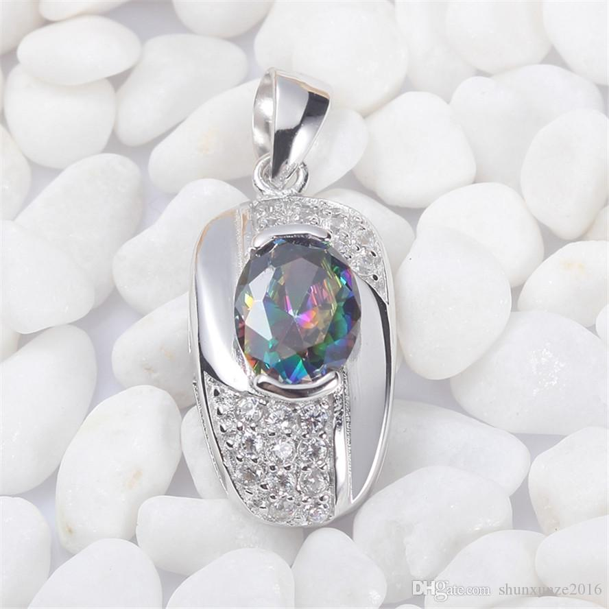 925 sterling silver Fashion Pendants Shinning Noble Generous S-3719 Rainbow Fire Mystic Cubic Zirconia Favourite Best Sellers New Arrivals