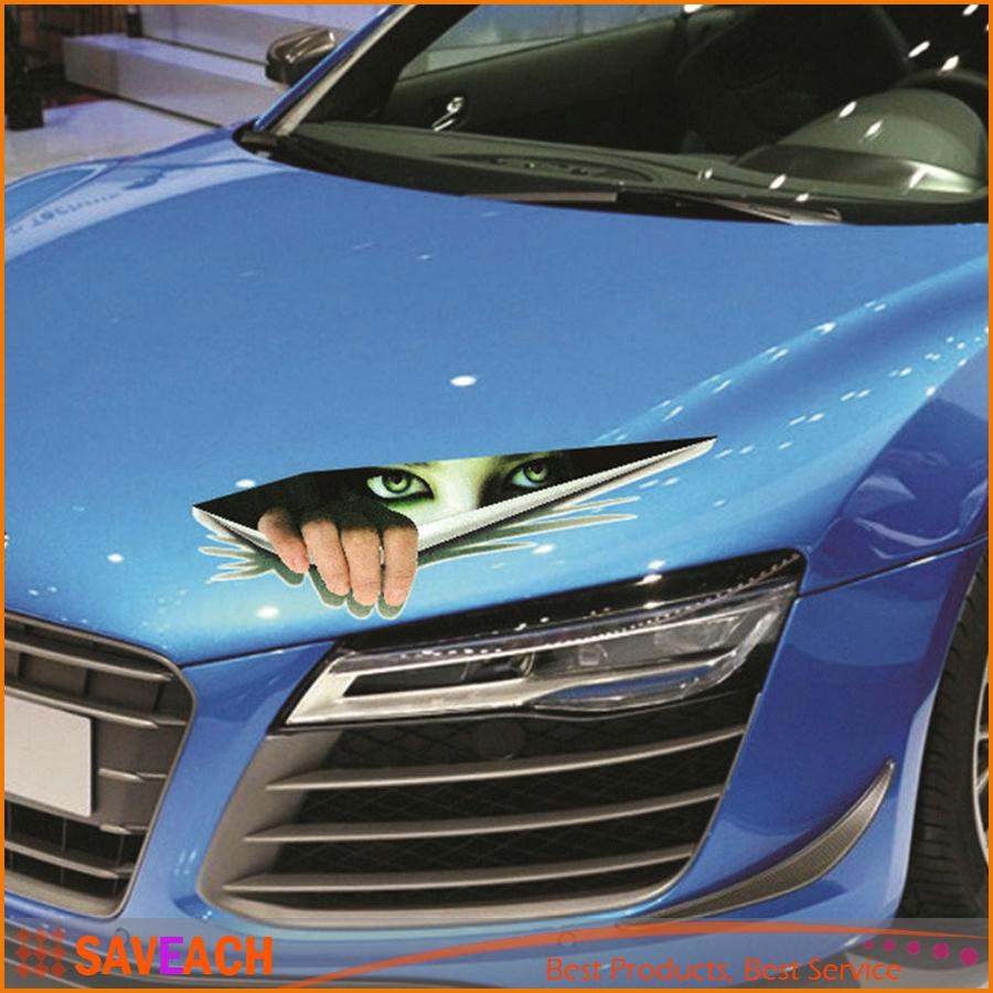 New funny car sticker 3d eyes peeking monster voyeur car hoods trunk thriller rear window decal hot selling funny car sticker 3d eyes peeking monster car