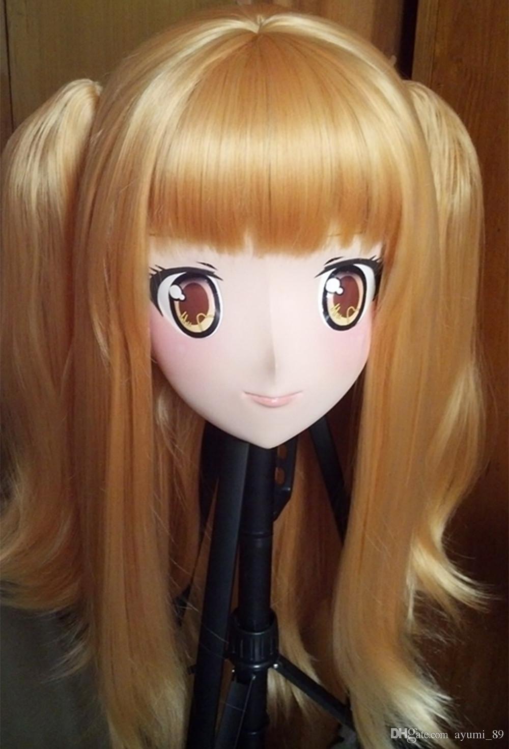 Cabeça cheia Anime KIG Máscara Cosplay Kigurumi Crossdresser Boneca Halloween Fetiche Máscaras de Personagem de Desenho Animado Japonês Personalizado EYES / HAIR