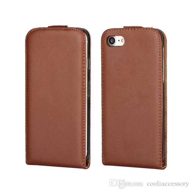 For Iphone X 8 7 Plus 7Plus IphoneX 6 6S Genuine Flip Leather Pouch Case Real True Vertical Plain Cell phone Smooth Hard Cover skin Luxury
