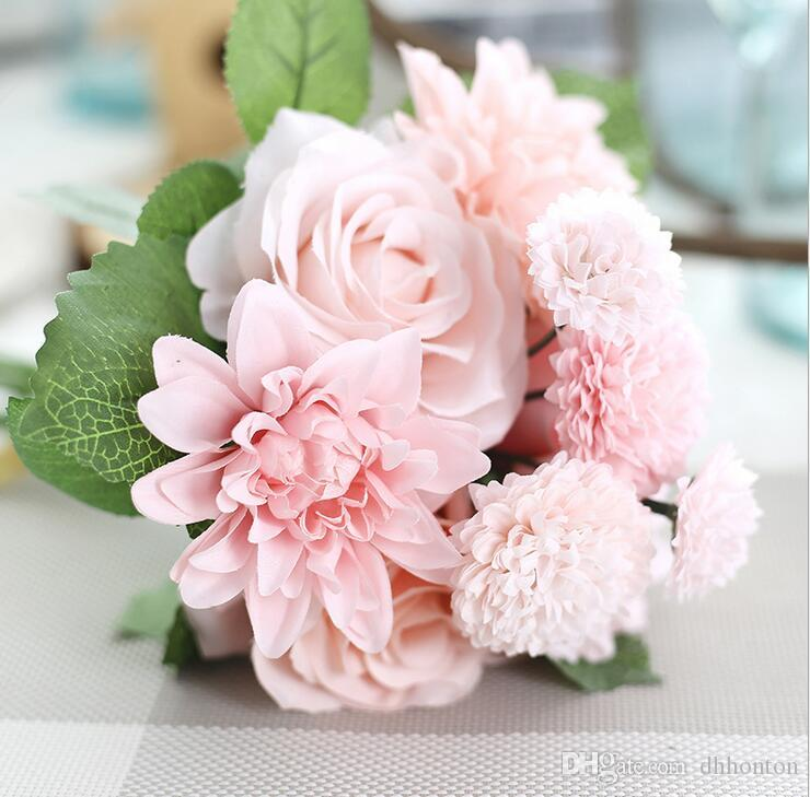 A bunch of Artificial flowers with 3 roses,3 roses dahlia, 2 big and 2 small chrysanthemum flower five color to choose SF012