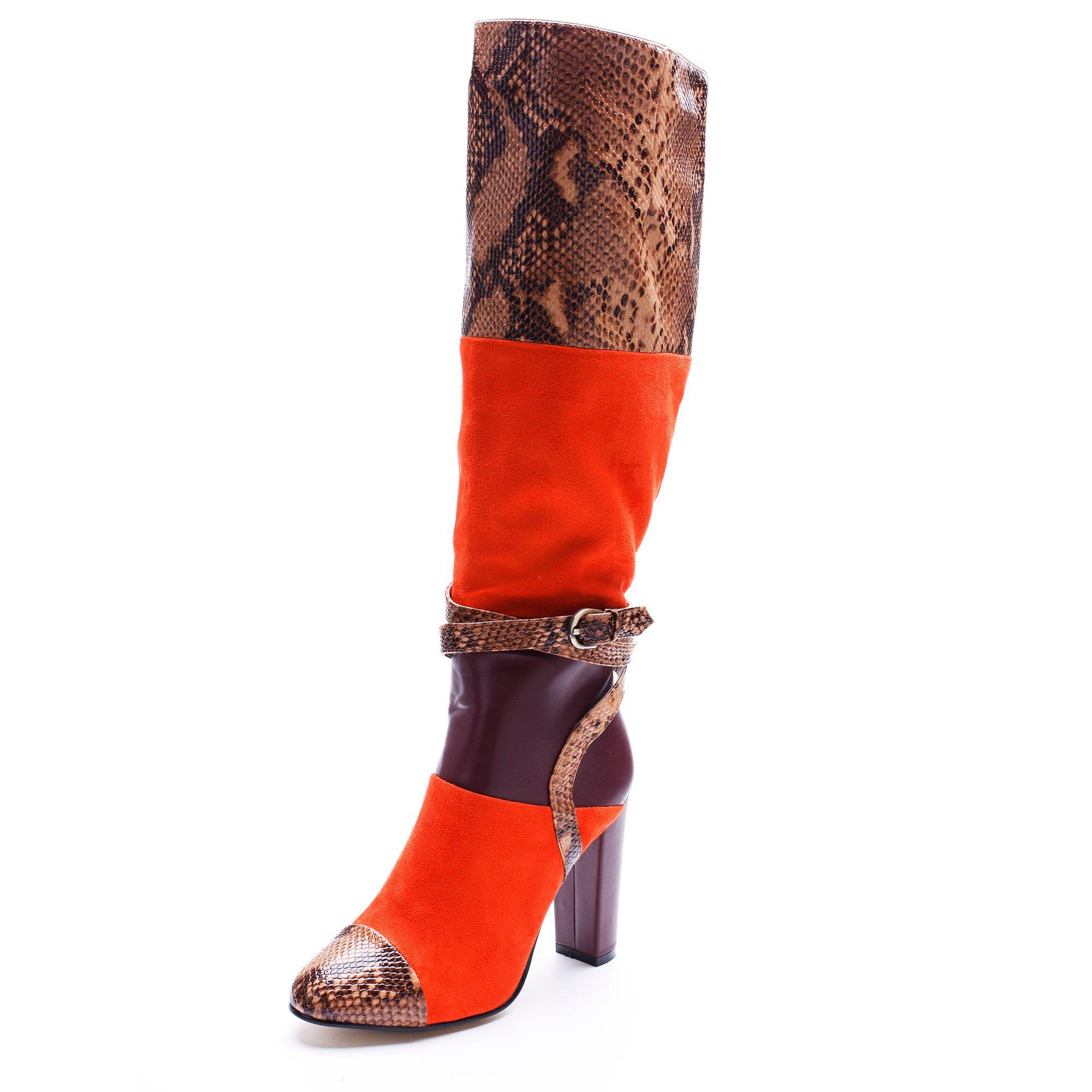 2018 new woke fashion boots toes buckle mixed color zip chunky heel winter women Knee-High Boots high heels women shoes shoes women