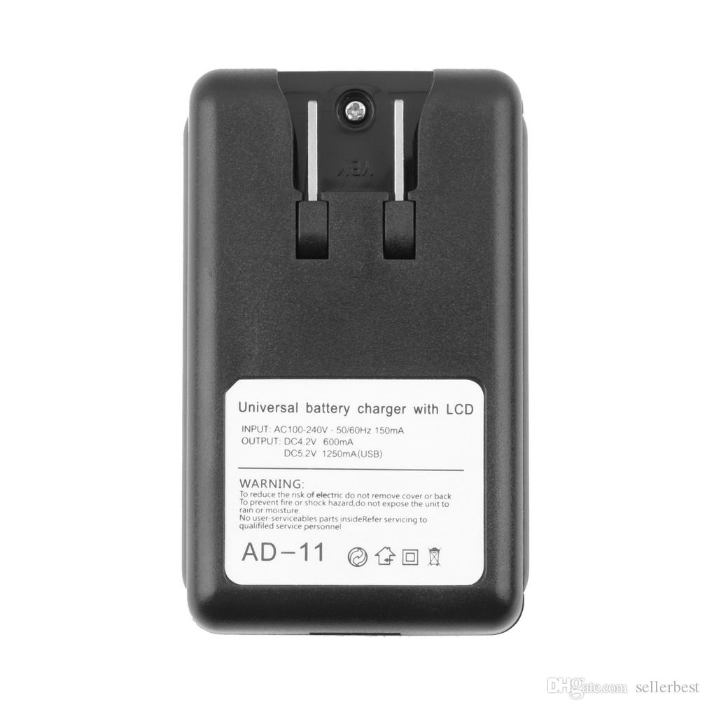 AD-11 AD07 4.2V 600mah Mobile Universal Battery Charger LCD Indicator Screen USB-Port 1250MA Output For Cell Phones LG Nokia Samsung Cannon